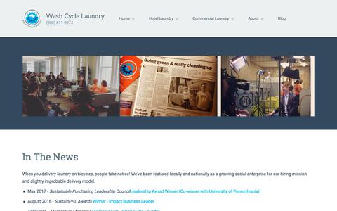 Screenshot of Press Page washcyclelaundry.com - News Coverage | Wash Cycle Laundry - captured Nov. 16, 2018
