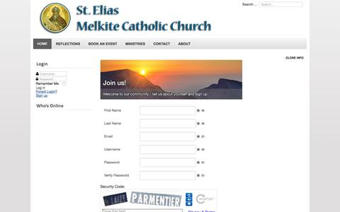 Screenshot of Signup Page saintelias.org - Sign up - captured June 2, 2016