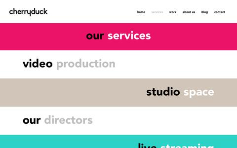 Screenshot of Services Page cherryduck.com - Our Services - Cherryduck - Your Video Production Partner - captured Nov. 16, 2018