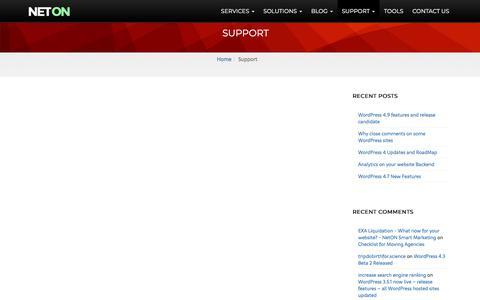 Screenshot of Support Page neton.com.au - Support | NetON Smart Marketing - captured Nov. 8, 2017