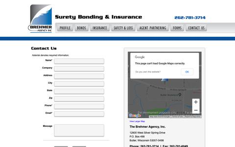 Screenshot of Contact Page brehmeragency.com - Surety Bonding and Insurance Agency | Surety Bonds Permits Licenses | Milwaukee Bonding Agency - captured Nov. 6, 2018