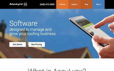 Screenshot of Home Page acculynx.com - Roofing Software | CRM | Roofing Estimates | Production Management - captured Feb. 2, 2018