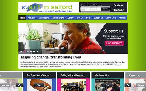 Screenshot of Home Page startinsalford.org.uk - Home | Start in Salford creative arts & wellbeing centre - captured Sept. 30, 2014