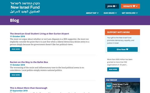 Screenshot of Blog nif.org - Blog Archive - New Israel Fund (NIF) - captured Nov. 15, 2018