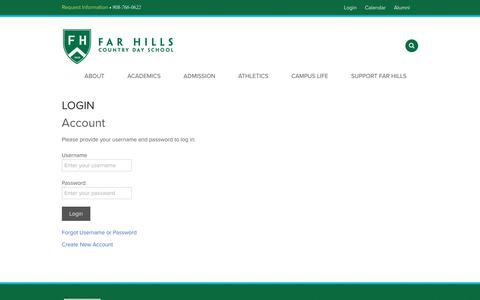 Screenshot of Login Page fhcds.org - Login - Far Hills Country Day School - captured Oct. 13, 2017