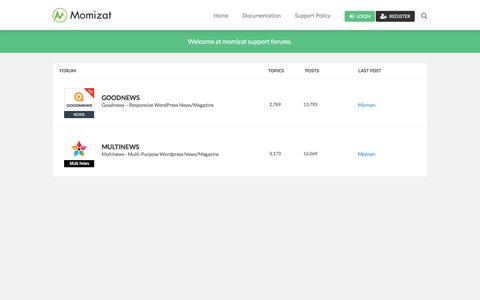 Screenshot of Support Page momizat.com - Momizat Support – Theme support is offered to verified customers by forum only. - captured March 30, 2018