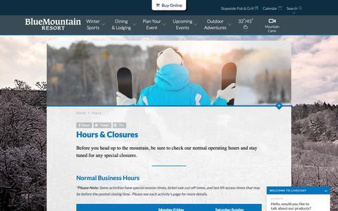 Screenshot of Hours Page skibluemt.com - Hours & Closures   Blue Mountain Resort - captured Nov. 13, 2018