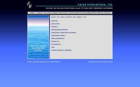 Screenshot of Testimonials Page valueinnovations.com - v a l u ei n n o v a t i o n s, i n c. - captured Oct. 7, 2014