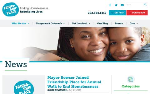 Screenshot of Press Page friendshipplace.org - News – Friendship Place - captured Sept. 1, 2018