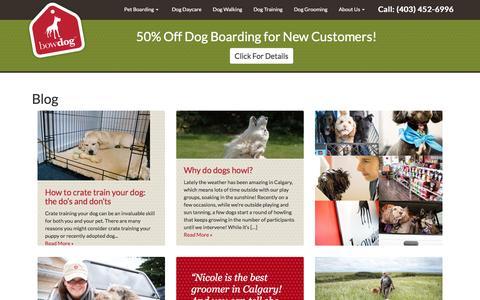 Screenshot of Blog bowdog.ca - Pet Care Essentials from BowDog Canine Specialists - captured Nov. 23, 2016