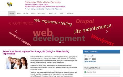 Screenshot of Home Page bellerosewebmedia.com - Digital Marketing Agency - Social Media, SEO, Web Design & Development | Bellerose Web Media Services - captured Feb. 7, 2016