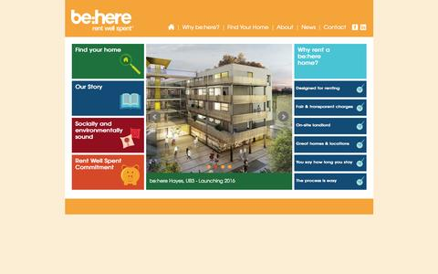 Screenshot of Home Page be-here.co.uk - be:here - captured Oct. 5, 2014