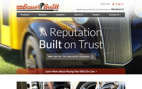 Screenshot of Home Page bauerbuilt.com - Wheels and Tires, Commerical Tires at Bauer Built Tire - captured Sept. 10, 2015