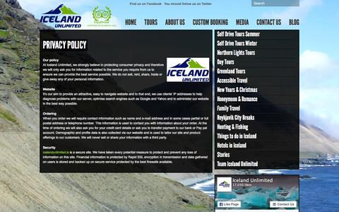 Screenshot of Privacy Page icelandunlimited.is - Privacy Policy - Iceland Unlimited Iceland Unlimited - captured Feb. 10, 2016