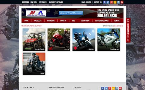 Screenshot of Products Page hondasuzukiofsanford.com - Inventory Showroom | Honda-Suzuki of Sanford North Carolina - captured June 18, 2016