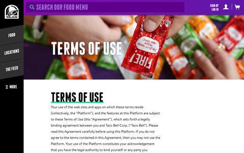 Screenshot of Terms Page tacobell.com - Terms Of Use - Taco Bell - captured Nov. 17, 2015