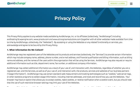 Screenshot of Privacy Page avidxchange.com - Privacy Policy | AvidXchange - captured Nov. 5, 2019