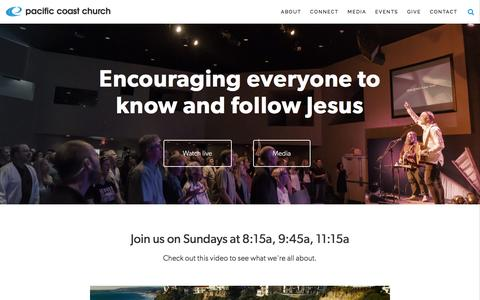 Screenshot of Home Page pacificcoastchurch.org - Pacific Coast Church - captured July 10, 2016