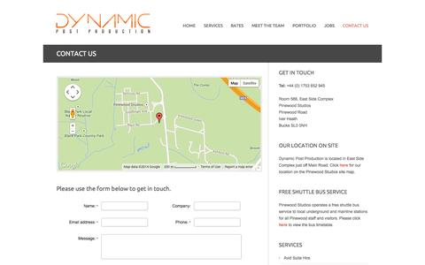 Screenshot of Contact Page dynamicpost.co.uk - Dynamic Post Production LTD London | Contact Us - captured Oct. 5, 2014