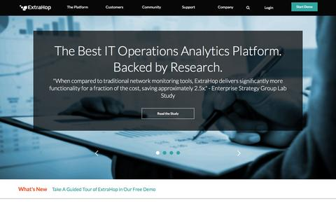 Screenshot of Home Page extrahop.com - ExtraHop Networks: IT Operations & Wire Data Analytics Platform | ExtraHop - captured July 3, 2016