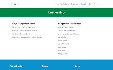 Screenshot of Team Page kcqinc.com - Leadership – KCQ, INC - captured Nov. 6, 2018