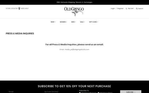 Screenshot of Press Page oldgringoboots.com - Old Gringo Press & Media - captured Nov. 8, 2018