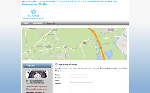 Screenshot of Contact Page eusurgicals.co.uk - eusurgical - captured Oct. 1, 2014