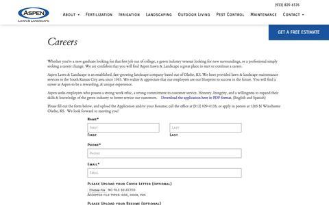Screenshot of Jobs Page aspenlawn.com - Careers - Aspen Lawn - captured Nov. 21, 2016