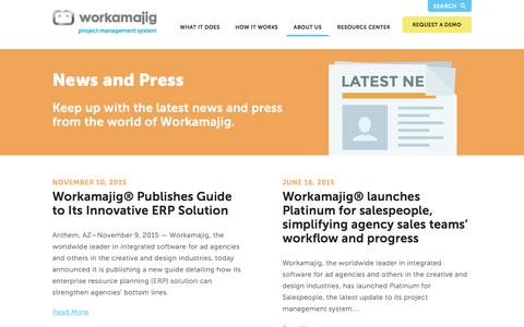 "Screenshot of Press Page workamajig.com - Workamajigâ""¢ Platinum 