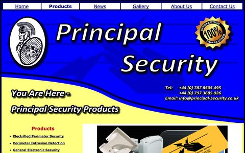 Screenshot of Products Page principal-security.co.uk - Products - captured Oct. 3, 2014