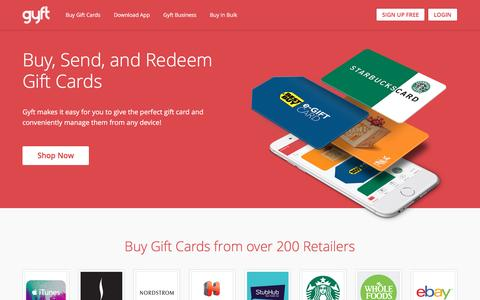 Screenshot of Home Page gyft.com - Gyft: Buy, Send & Redeem Gift Cards Online or with Mobile App - captured July 4, 2016