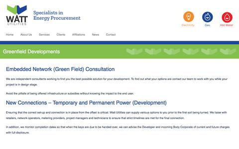 Screenshot of Developers Page wattutilities.com.au - Watt offers second to none consultation services for Developers • WATT Utilities - captured Sept. 21, 2018