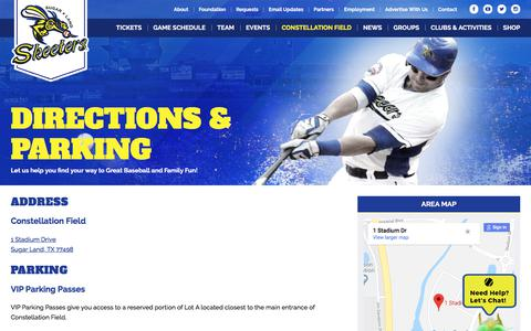 Screenshot of Maps & Directions Page sugarlandskeeters.com - Directions | Sugar Land Skeeters - captured Sept. 21, 2018