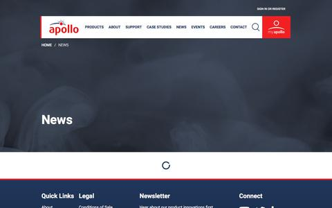 Screenshot of Press Page apollo-fire.co.uk - News - captured Sept. 25, 2018