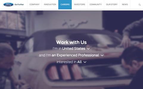 Screenshot of Jobs Page ford.com - Work with Us - captured Oct. 13, 2017