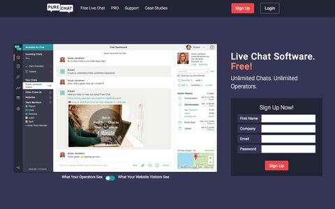 Screenshot of Home Page purechat.com - 100% Free Live Chat Software for Businesses | Pure Chat - captured March 23, 2018