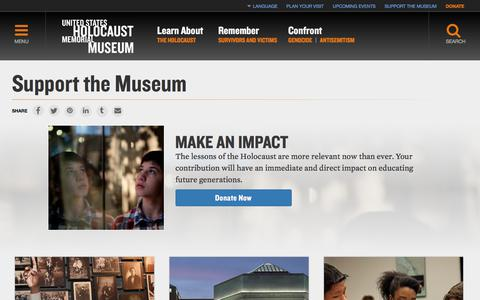 Screenshot of Support Page ushmm.org - Support the Museum — United States Holocaust Memorial Museum - captured June 21, 2017