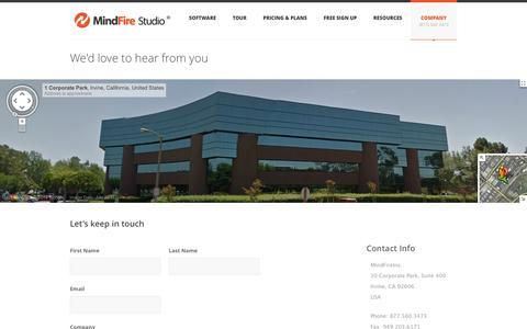 Screenshot of Contact Page mindfirestudio.com - Contact Us - MindFire Studio - captured Oct. 7, 2014