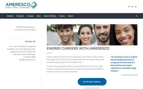 Screenshot of Jobs Page ameresco.com - Energy Careers with Ameresco | FInd Energy Jobs Online - captured Nov. 5, 2019