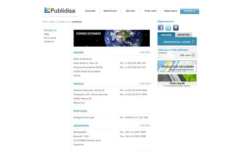 Screenshot of Locations Page publidisa.com - Publidisa. Applying New Technologies to the Publishing Industry - captured Sept. 25, 2014