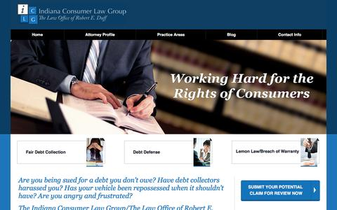 Screenshot of Home Page indianaconsumerlawgroup.com - Indiana Consumer Lawyer - Indianapolis Lemon Law Attorney - Fishers, IN Identity Theft Lawyer - captured Feb. 10, 2016