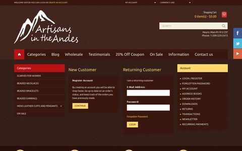 Screenshot of Login Page artisansintheandes.com - Account Login - captured July 26, 2016