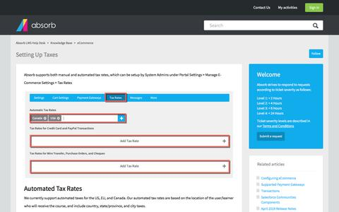 Screenshot of Support Page absorblms.com - Setting Up Taxes – Absorb LMS Help Desk - captured Jan. 11, 2020
