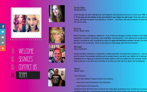 Screenshot of Team Page hairspray-sd.com - Team - captured Oct. 1, 2014