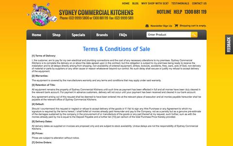 Screenshot of Terms Page sydneycommercialkitchens.com.au - Terms & Conditions - captured Sept. 22, 2014