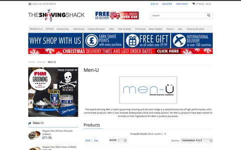 Screenshot of Menu Page shaving-shack.com - Buy Men-U Shaving & MenU Skincare Products | The Shaving Shack - captured Nov. 21, 2015