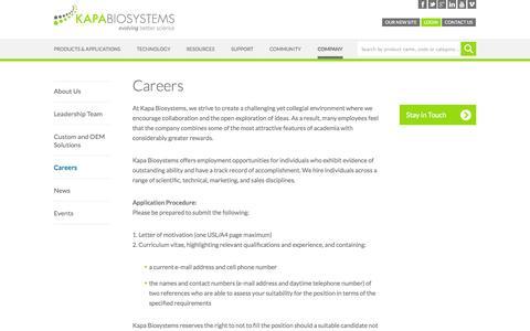 Screenshot of Jobs Page kapabiosystems.com - Kapa Job Postings - captured Oct. 27, 2014