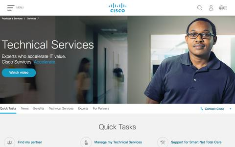 Screenshot of Support Page cisco.com - Technical Services - Cisco - captured July 4, 2018