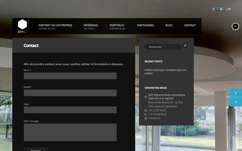Screenshot of Contact Page atfl.ch - Contact - Montages Acoustique - captured Sept. 30, 2014