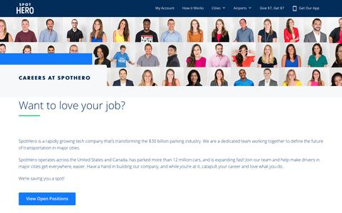 Screenshot of Jobs Page spothero.com - Find Your SpotHero Career | SpotHero - captured July 22, 2018